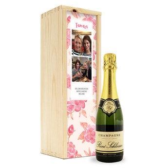 Champagner in bedruckter Kiste Rene Schloesser (375 ml)