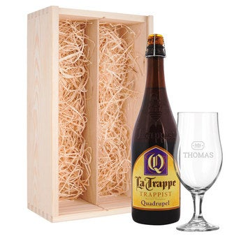Bier mit Glas La Trappe Quadrupel