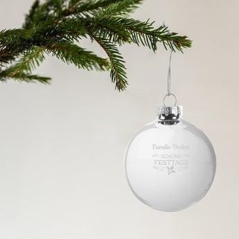 Weihnachtskugel mit Namen Glas Silber (4 Stück)