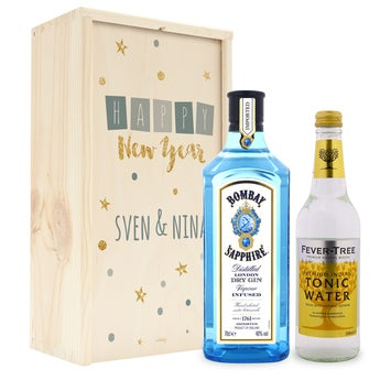 Gin Tonic Set - Bombay Sopphire Gin - in authentischer Holzkister