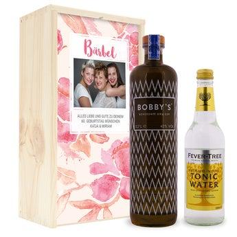 Gin Tonic Set - Bobbys Gin - in luxuriöser Holzkiste