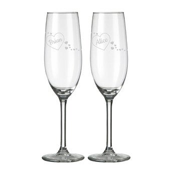 Champagne flutes - Valentine's Day (set of 2)