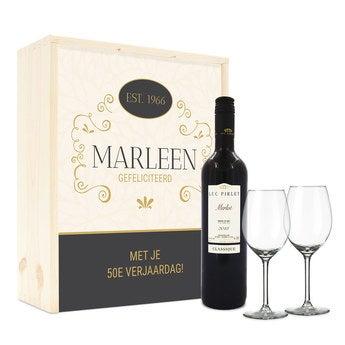 Wijnpakket met wijnglazen - Luc Pirlet Merlot - Bedrukte deksel