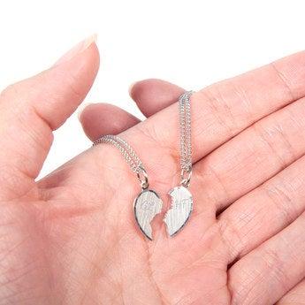 Partnerketten Silber 2 Herzhälften Buchstabe
