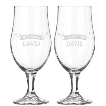 Father's Day beer glass with name (pair of 2)