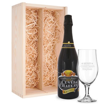 Beer gift set with glass - engraved - Cuveé du Chateau