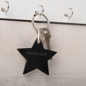 Schlüsselanhänger Leder Stern Schwarz