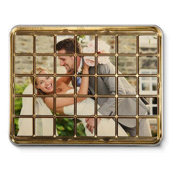 Schokoladen Puzzle in Blechdose 35 Stückchen