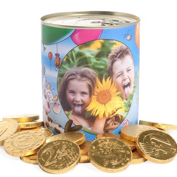 Blechdose Schokomünzen