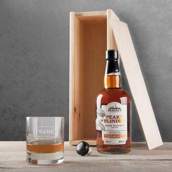 Whisky Set Peaky Blinder mit graviertem Glas