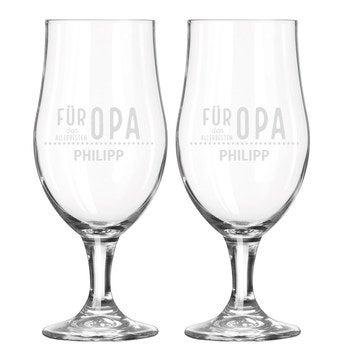 Bierglas mit Gravur Opa (2 Stück)