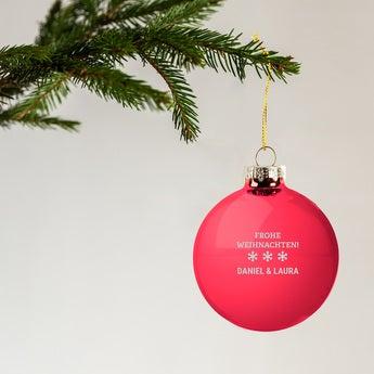 Weihnachtskugel mit Namen Glas Rot (4 Stück)