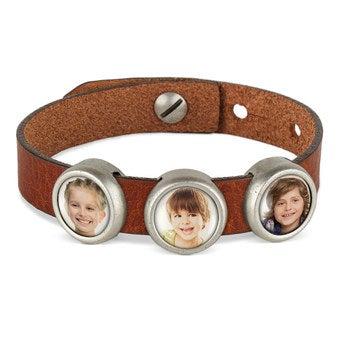 Schiebeperlen Armband braun 3 Perlen