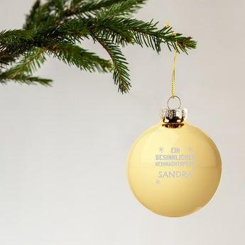Weihnachtskugel mit Namen Glas Gold (4 Stück)