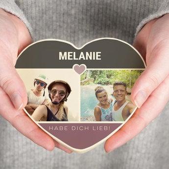Schokoherz mit Foto Valentinstag Weiß