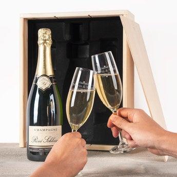 Champagner Renné Schloesser (750ml) Glas mit Gravur