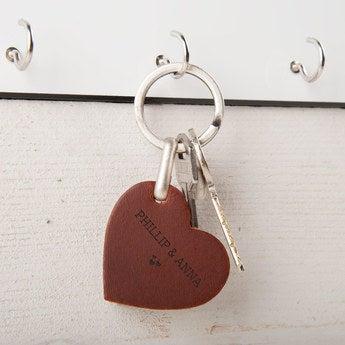 Schlüsselanhänger Leder Herz Braun
