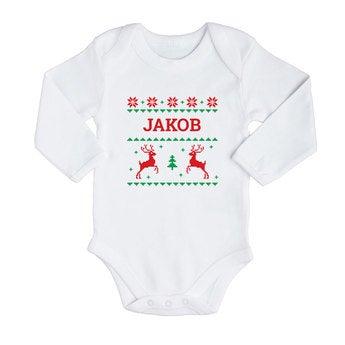 Babybody Weihnachten Langarm Weiß 62 68