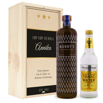Gin Tonic Set - Bobbys Gin - in authentischer Holzkister