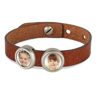 Schiebeperlen Armband braun 2 Perlen