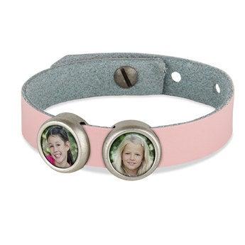 Schiebeperlen Armband rosa 2 Perlen