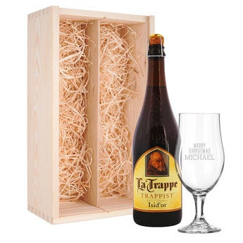 Beer gift set with glass - engraved - La Trappe Isid'or
